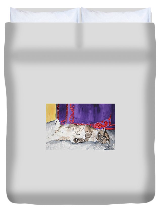 Cat Duvet Cover featuring the painting Guilley by Jean Blackmer