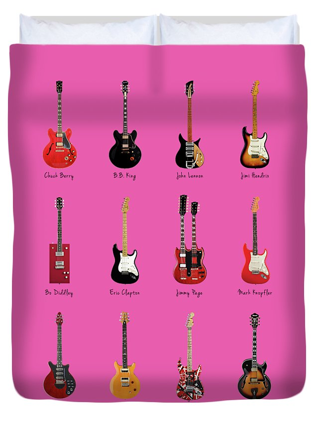 Fender Stratocaster Duvet Cover featuring the photograph Guitar Icons No1 by Mark Rogan