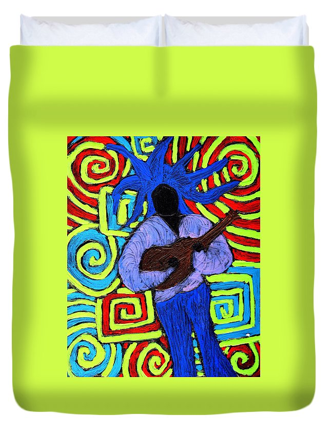 Music Duvet Cover featuring the painting Guitar Solo by Wayne Potrafka