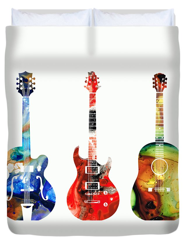 Guitar Duvet Cover featuring the painting Guitar Threesome - Colorful Guitars By Sharon Cummings by Sharon Cummings