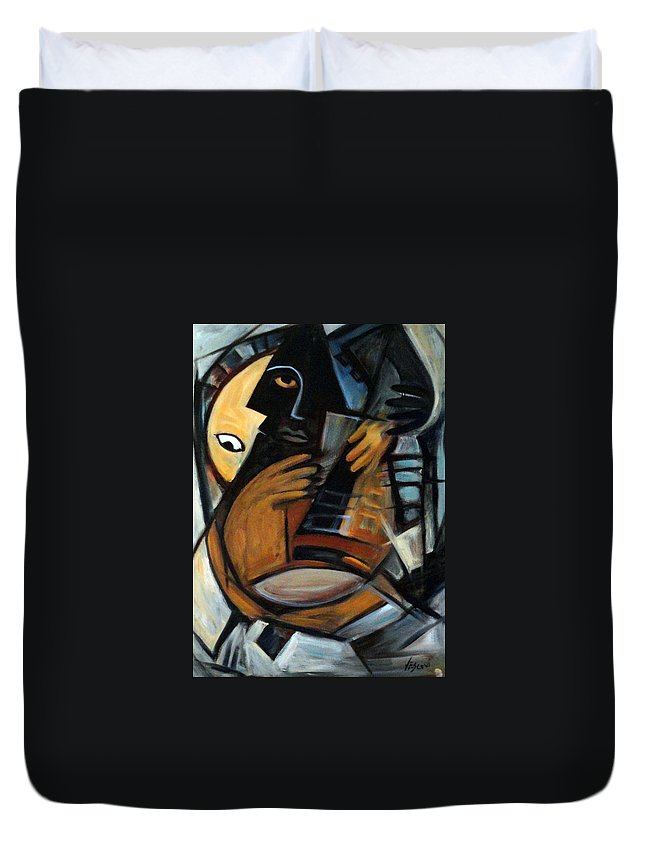 Cubism Duvet Cover featuring the painting Guitarist by Valerie Vescovi