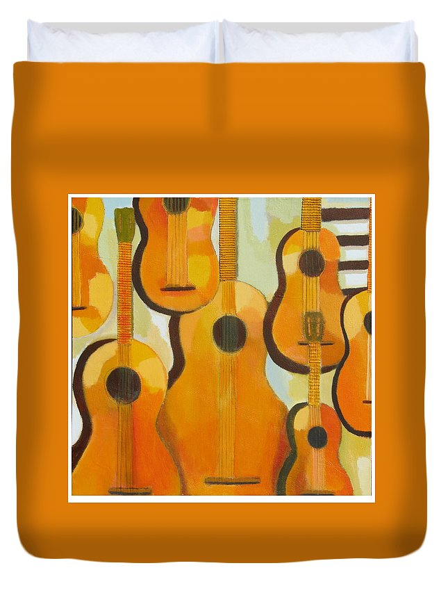 Abstract Duvet Cover featuring the painting Guitars by Habib Ayat