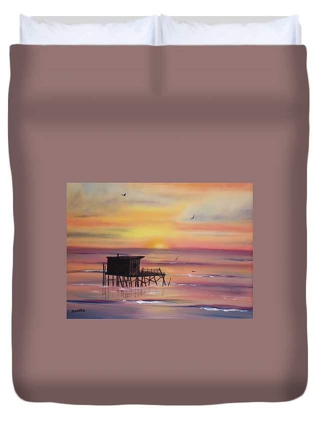 Sunset Duvet Cover featuring the painting Gulf Coast Fishing Shack by Susan Kubes