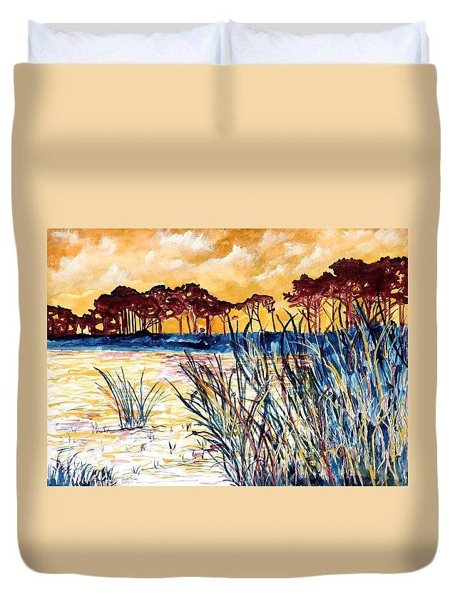 Gulf Coast Duvet Cover featuring the painting Gulf coast seascape tropical art print by Derek Mccrea