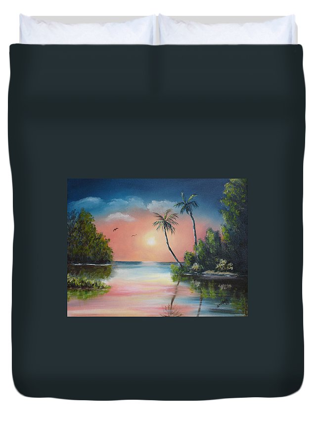 Sunset Duvet Cover featuring the painting Gulf Coast Sunset by Susan Kubes