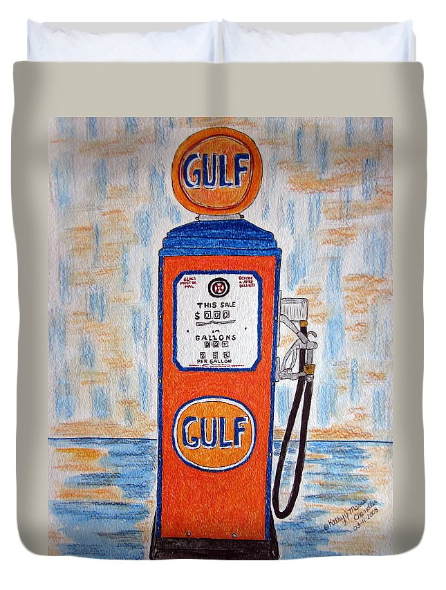 Vintage Duvet Cover featuring the painting Gulf Gas Pump by Kathy Marrs Chandler