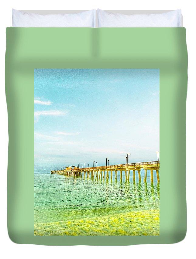 Beach Duvet Cover featuring the photograph Gulf Shores Pier by Christine DuMouchel
