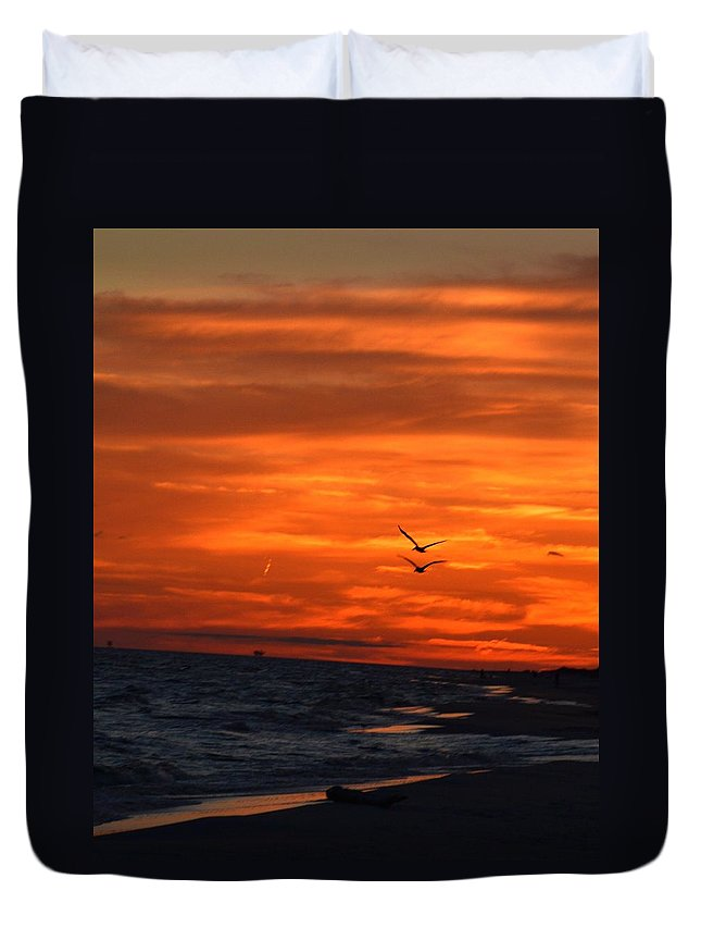 Sunset Duvet Cover featuring the photograph Gulf Sunset by Sue Houston