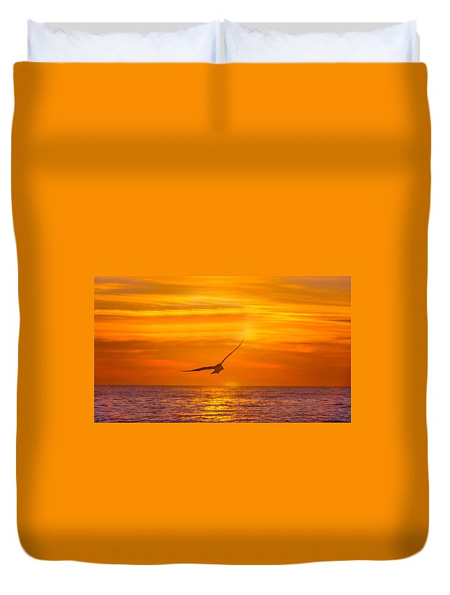 Atlantic Ocean Duvet Cover featuring the photograph Gull At Sunrise by Allan Levin