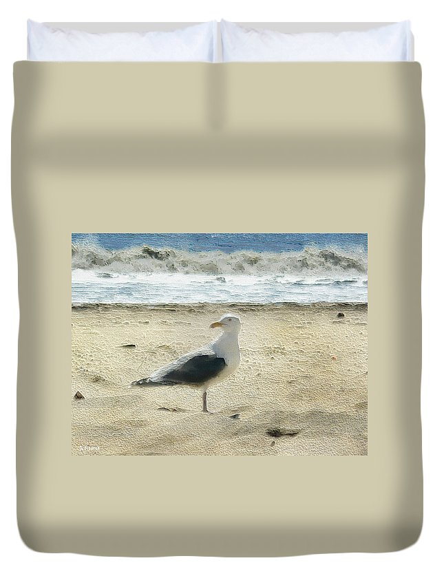 Ebsq Duvet Cover featuring the photograph Gull by Dee Flouton