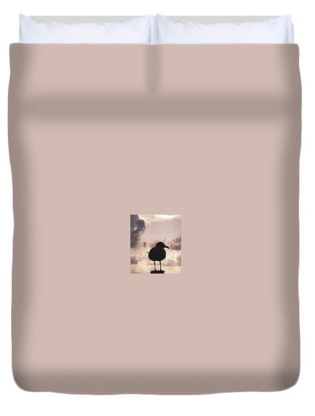 Seagull Duvet Cover featuring the photograph Gullhouette by Amber Stubbs