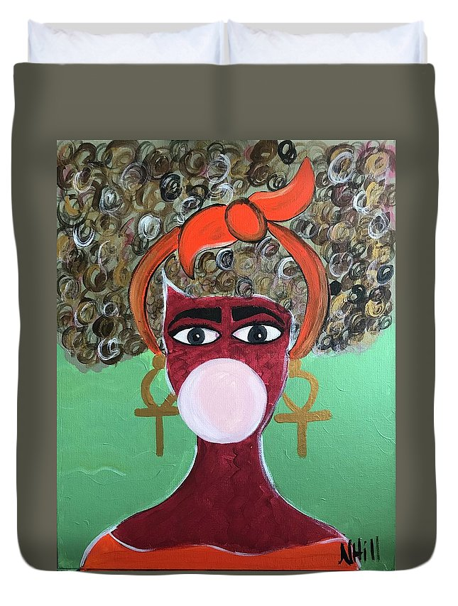 Duvet Cover featuring the painting Gummy by NiKita Hill