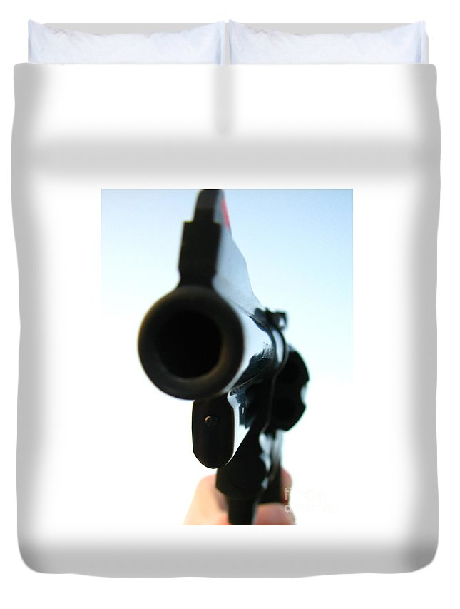 Guns Duvet Cover featuring the photograph Gun by Amanda Barcon