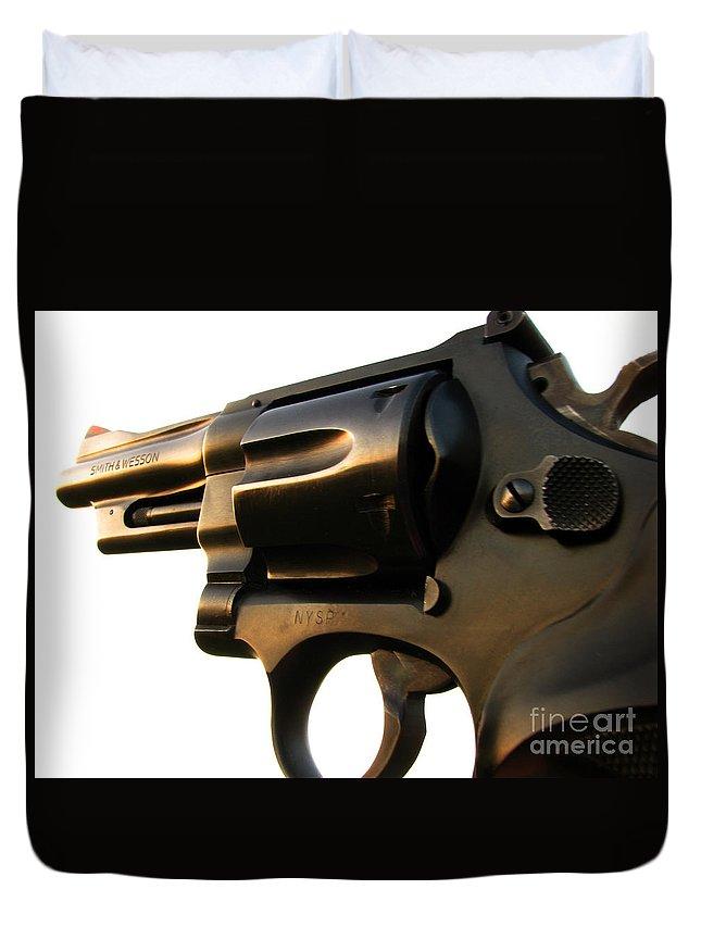 Gun Duvet Cover featuring the photograph Gun Series by Amanda Barcon