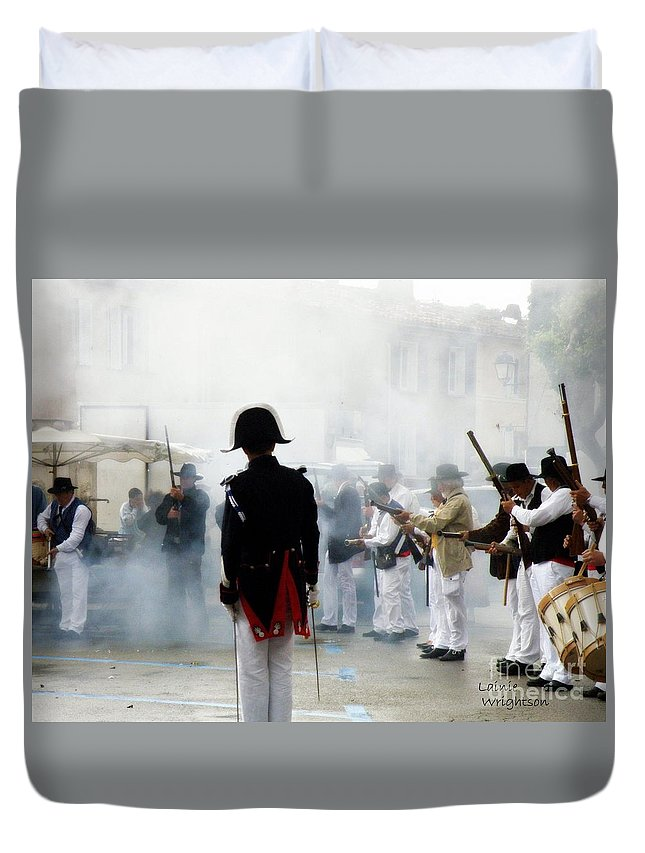 Traditional Duvet Cover featuring the photograph Gun Smoke by Lainie Wrightson