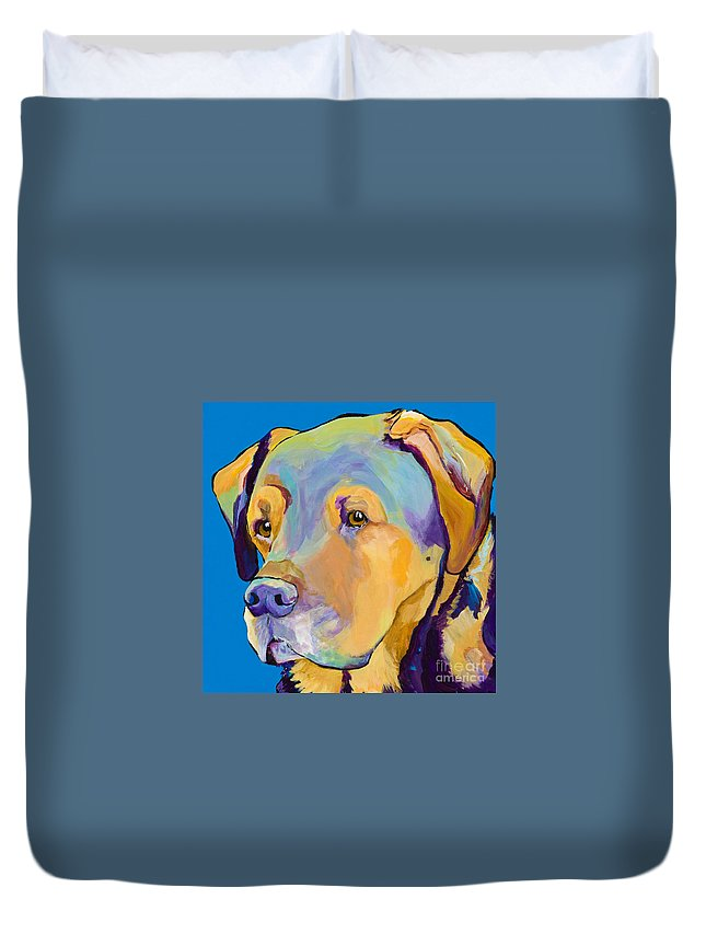 Dog Portrait Duvet Cover featuring the painting Gunner by Pat Saunders-White