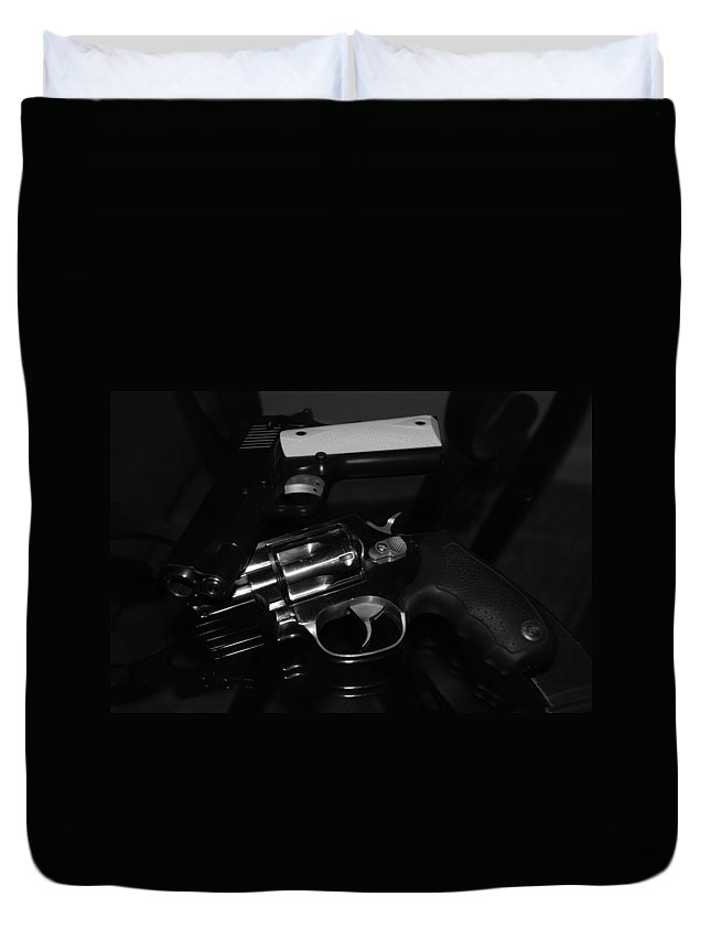 Guns Duvet Cover featuring the photograph Guns And More Guns by Rob Hans