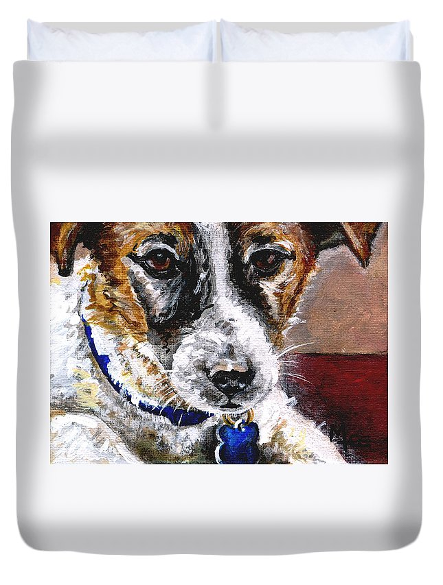 Chartiy Duvet Cover featuring the painting Gunter From Muttville by Mary-Lee Sanders