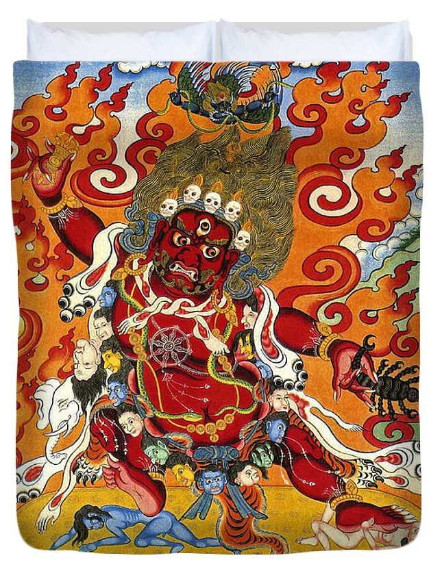 Thangka Duvet Cover featuring the painting Guru Dragpo by Sergey Noskov