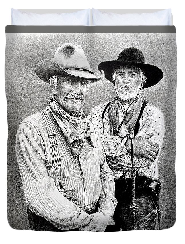 Lonesome Dove Duvet Cover featuring the drawing Gus And Woodrow by Andrew Read