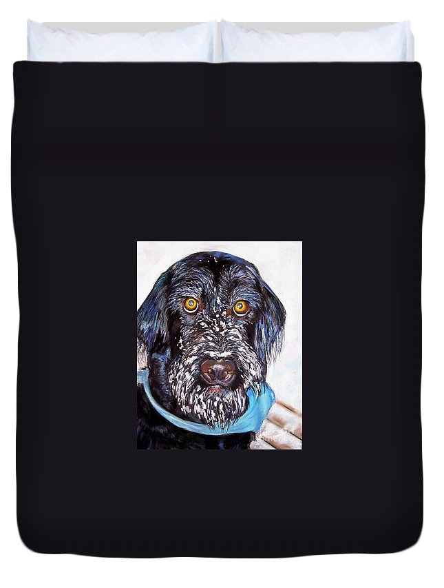 Dog Duvet Cover featuring the painting Gus by Frances Marino