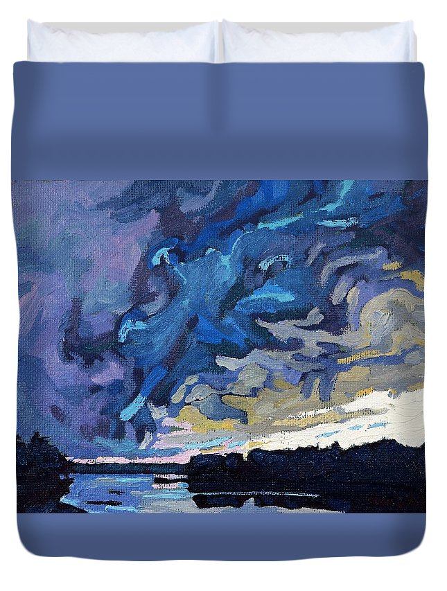Shelf Duvet Cover featuring the painting Gust Front by Phil Chadwick