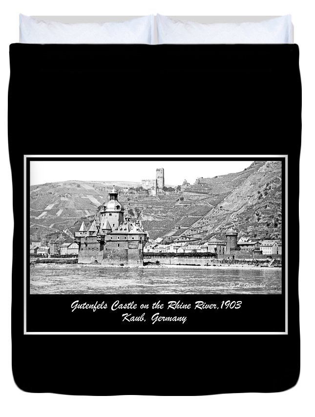 Gutenfels Castle Duvet Cover featuring the photograph Gutenfels Castle On The Rhine, Kaub, Germany, 1903, Vintage Phot by A Gurmankin