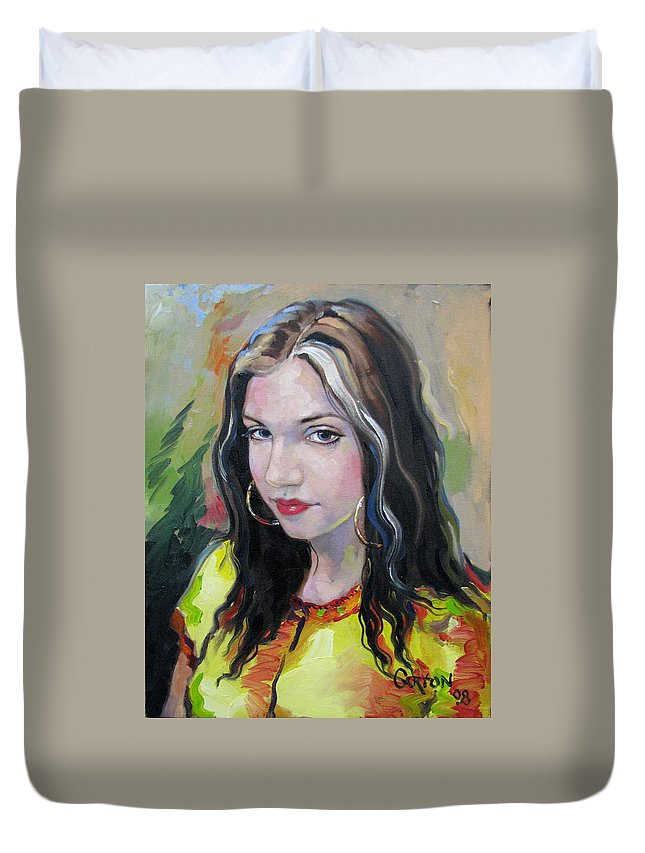 Gypsy Duvet Cover featuring the painting Gypsy Girl by Jerrold Carton