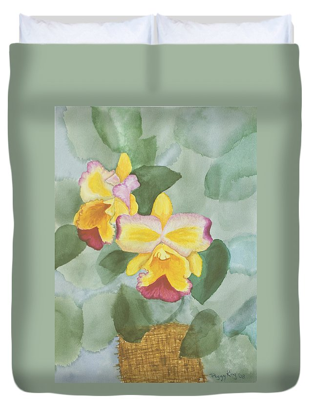 Orchids Duvet Cover featuring the painting Gypsy Orchids by Peggy King