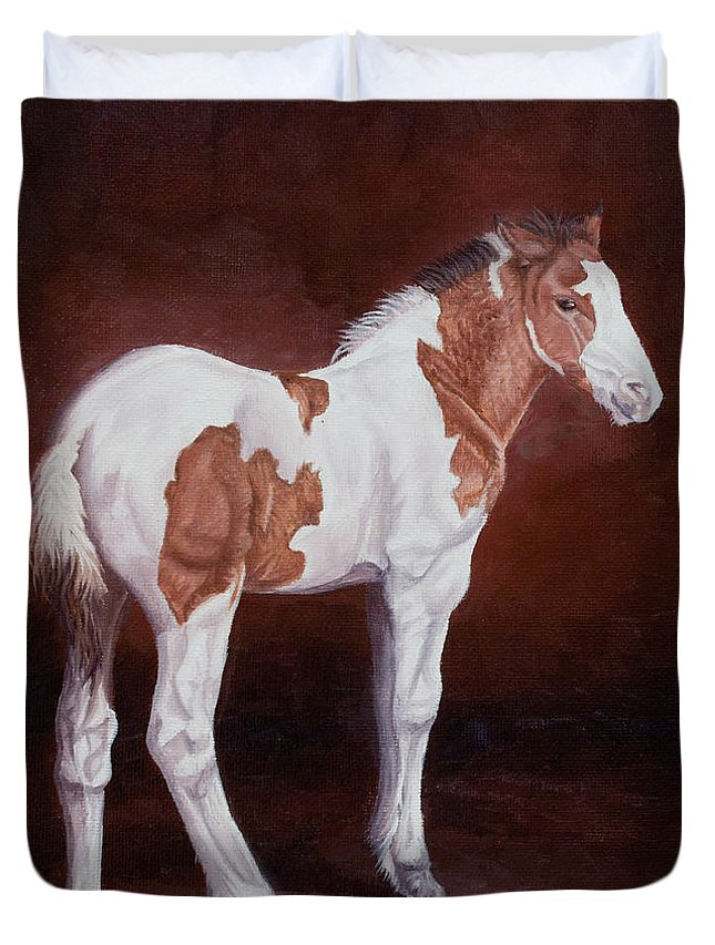 Horse Duvet Cover featuring the painting Gypsy Promise by Pauline Sharp