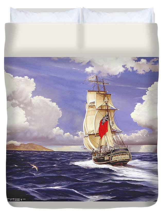 Marine Duvet Cover featuring the painting H. M. S. Bounty At Tahiti by Marc Stewart