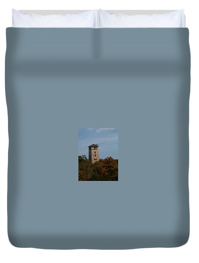 Water Tower Duvet Cover featuring the photograph Ha Ha Tonka Water Tower by Sara Raber