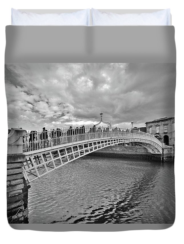 Ha' Penny Bridge Duvet Cover featuring the photograph Ha' Penny Bridge In Black And White by Marisa Geraghty Photography