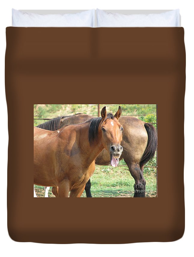Horse Duvet Cover featuring the photograph Haaaaa by Amanda Barcon
