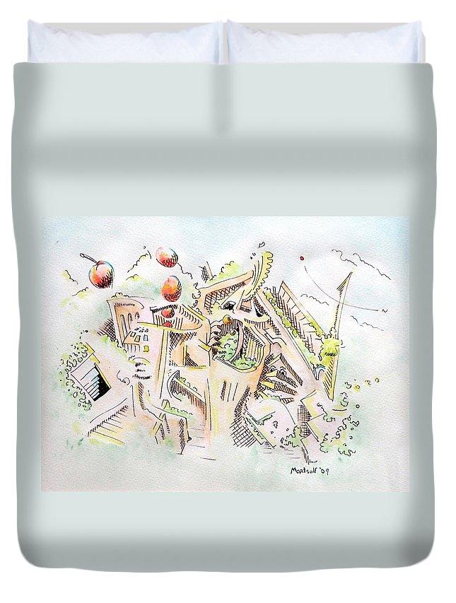 City Duvet Cover featuring the painting Habitat by Dave Martsolf
