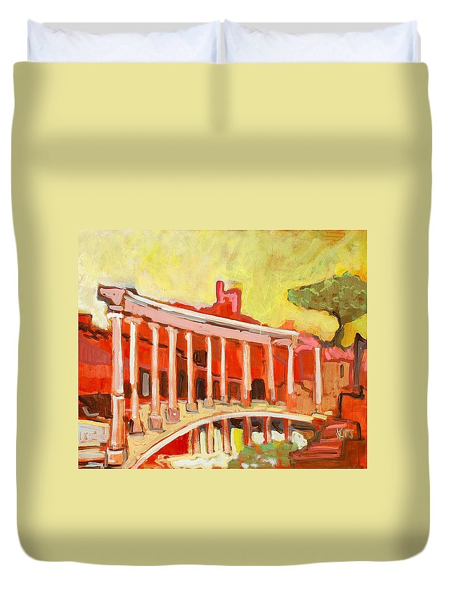 Villa Duvet Cover featuring the painting Hadrian's Villa by Kurt Hausmann