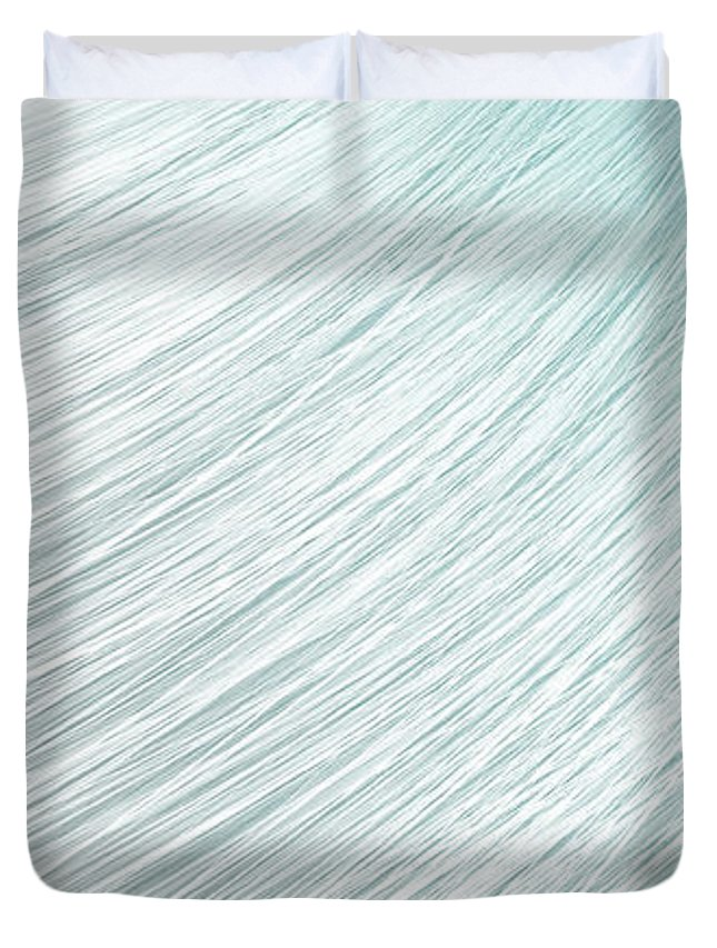 Grey Duvet Cover featuring the digital art Hair Blowing Closeup by Allan Swart