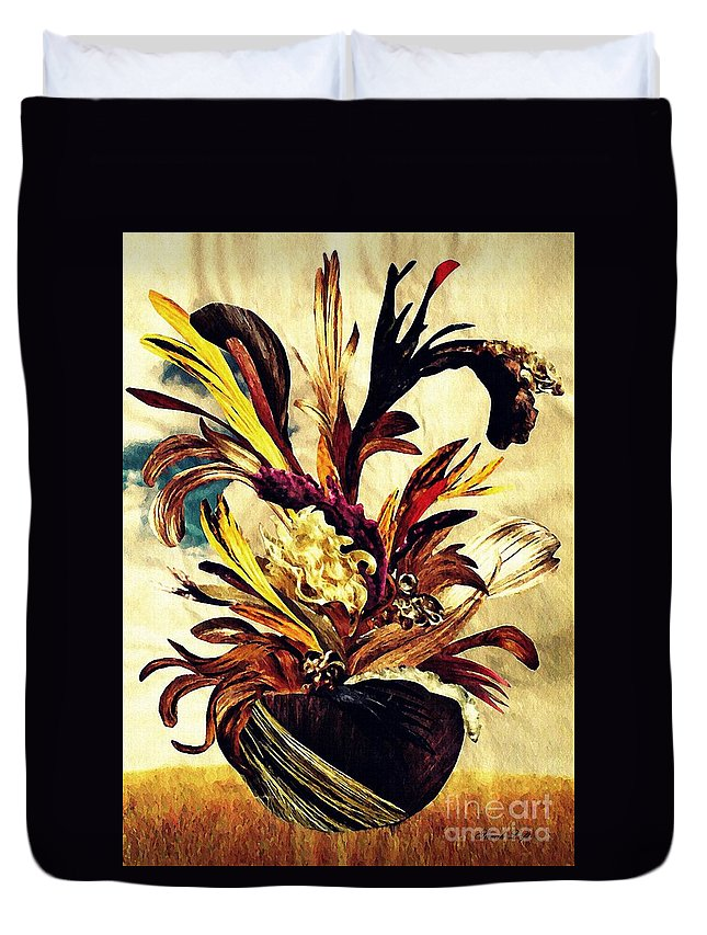 Floral Duvet Cover featuring the mixed media Hairflower Arrangement 2 by Sarah Loft
