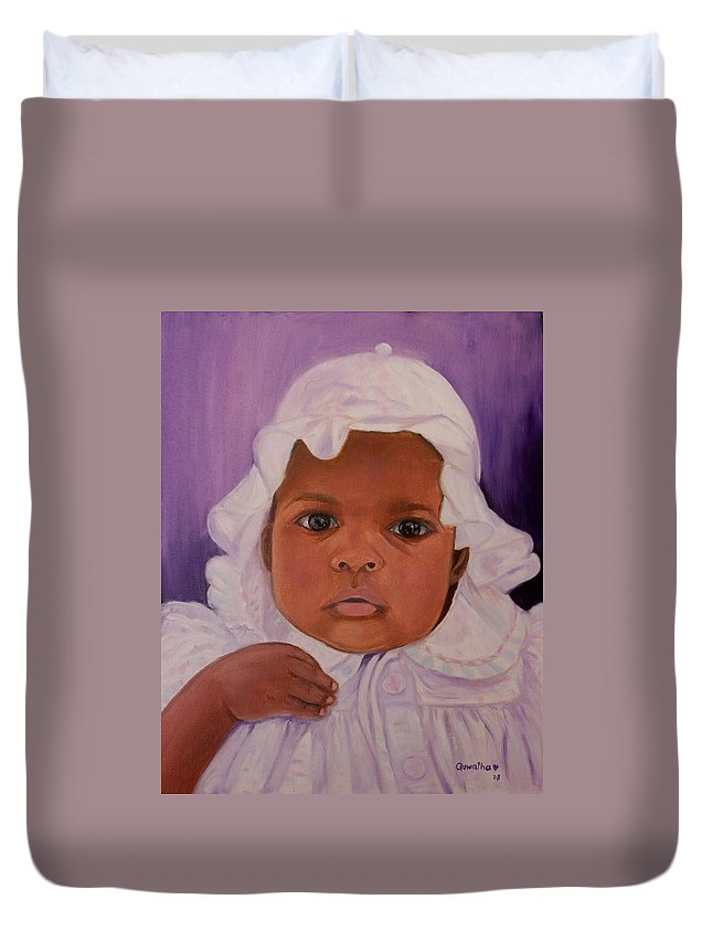 Haiti Duvet Cover featuring the painting Haitian Baby Orphan by Quwatha Valentine