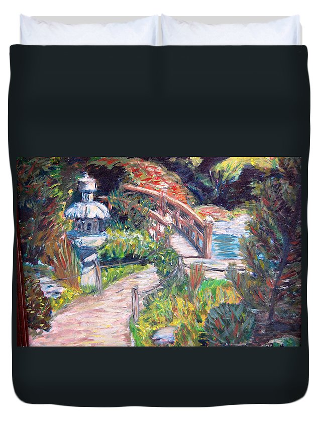 Hakone Garden Duvet Cover featuring the painting Hakone by Carolyn Donnell