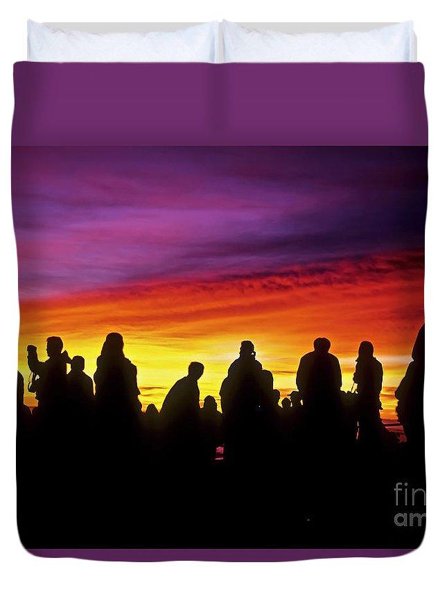 Haleakala Sunrise Duvet Cover featuring the photograph Haleakala Color Show by Jim Cazel