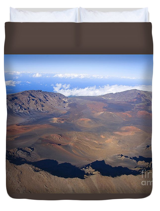 Aerial Duvet Cover featuring the photograph Haleakala Crater by Ron Dahlquist - Printscapes
