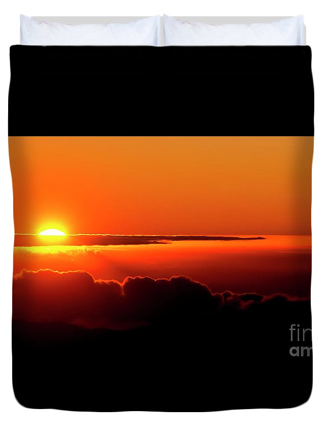 Sunrise Duvet Cover featuring the photograph Maui Hawaii Haleakala National Park Sunrise IIi by Jim Cazel
