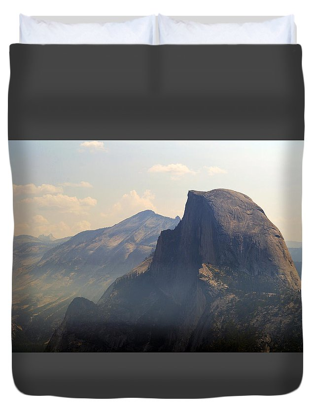 Half Dome Duvet Cover featuring the photograph Half Dome- Fire Season by Elizabeth Palmer