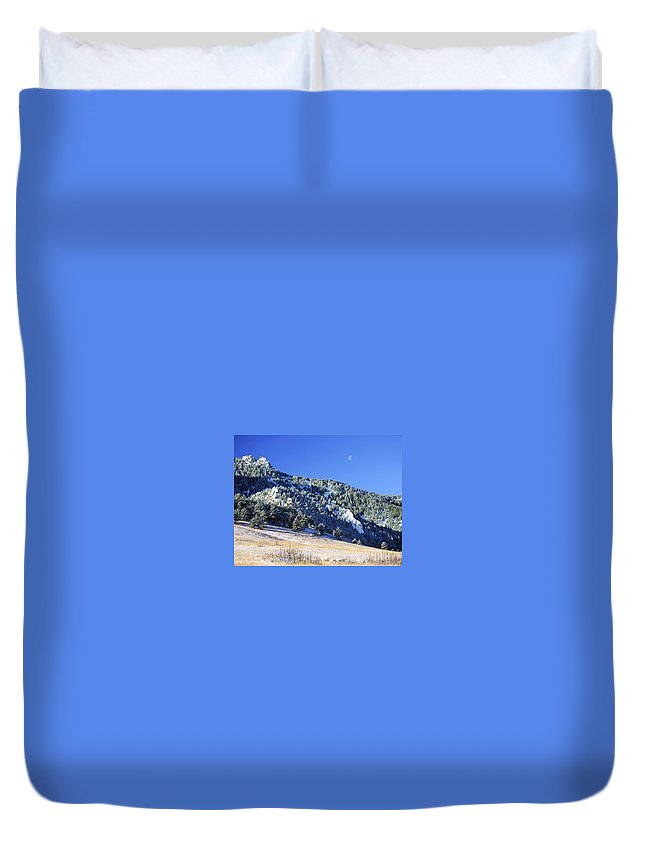 Nature Duvet Cover featuring the photograph Half Moon Over The Flatirons by Marilyn Hunt