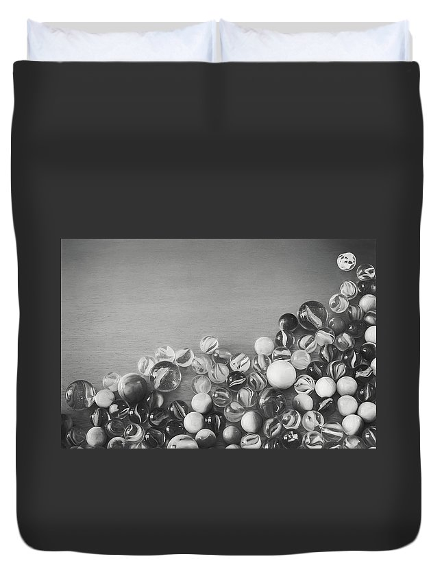 Black And White Duvet Cover featuring the photograph Half My Marbles by Scott Norris