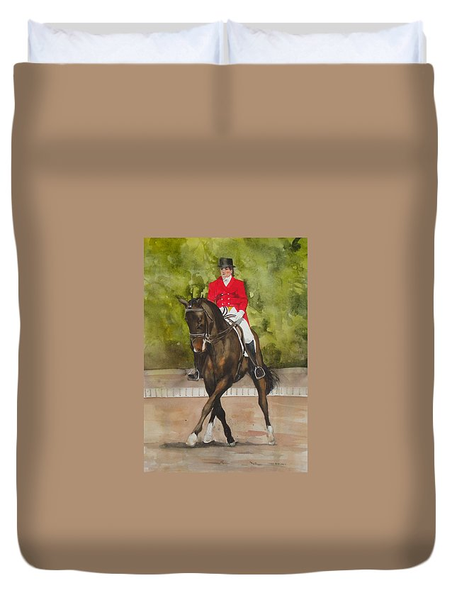 Horse Duvet Cover featuring the painting Half-Pass To The Right by Jean Blackmer