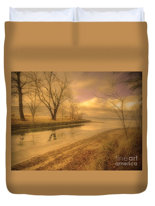 Lake Duvet Cover featuring the photograph Half Reflections by Tara Turner