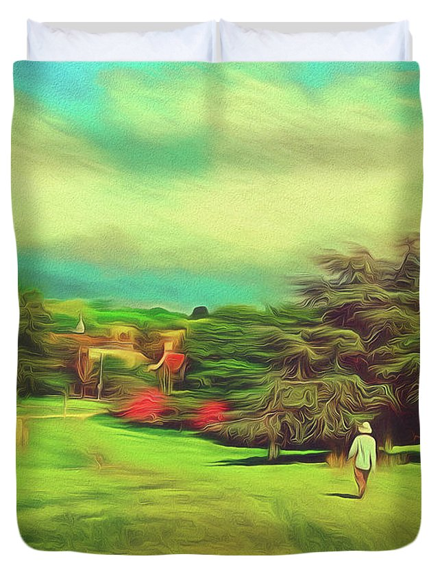 Hill Duvet Cover featuring the photograph Halfway Down The Hill by Leigh Kemp