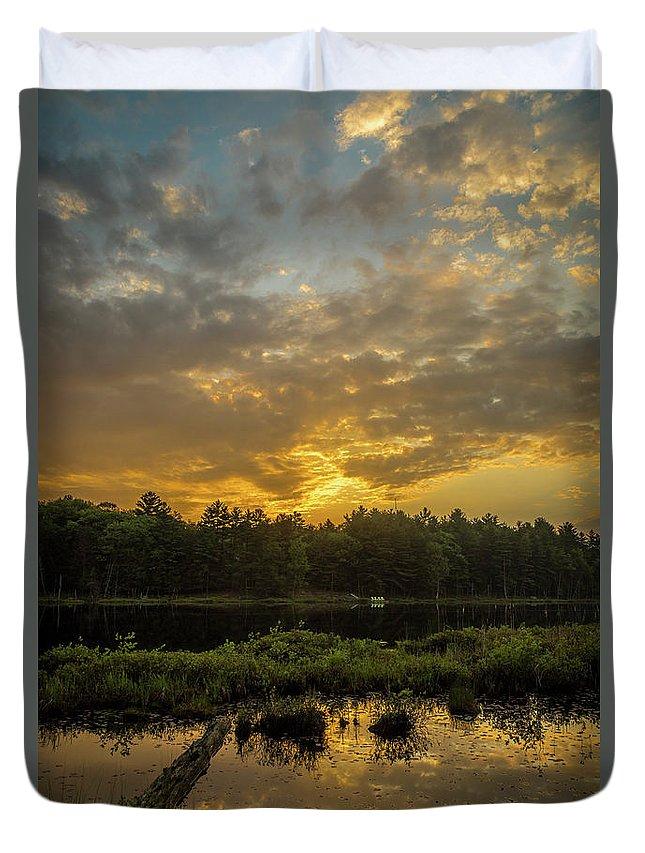 Calm Duvet Cover featuring the photograph Haliburton Sunrise by Roger Monahan